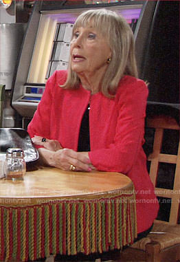 Dina's red textured jacket on The Young and the Restless