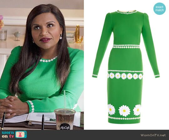 Dolce & Gabbana DLong-Sleeve Daisy Wool-Crepe Dress worn by Mindy Kaling on The Mindy Project