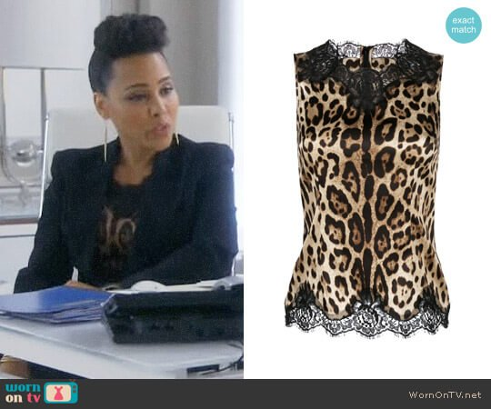 Dolce & Gabbana Lace Trim Leopard Print Vest worn by Amirah Vann on HTGAWM