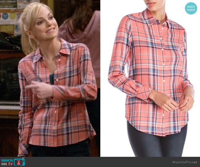 Pink Plaid Shirt by Elizabeth and James worn by Christy Plunkett (Anna Faris) on Mom