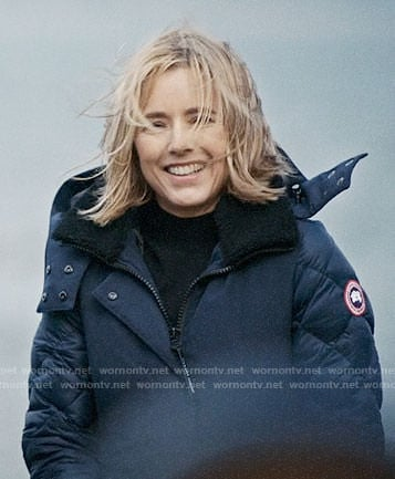 Elizabeth's navy blue parka on Madam Secretary