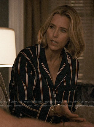 Elizabeth's striped pajamas on Madam Secretary
