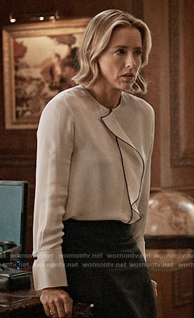 Elizabeth's white ruffled front blouse on Madam Secretary