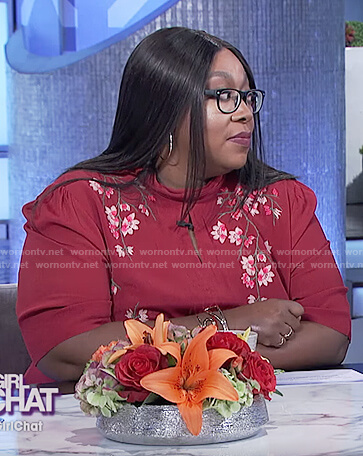 Loni's red embroidered floral keyhole top on The Real
