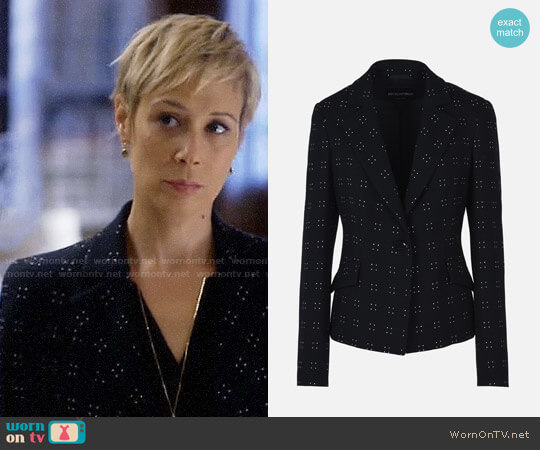 Emporio Armani Stretch Silk And Wool Jacket With Pin Dot Embroidery worn by Liza Weil on HTGAWM