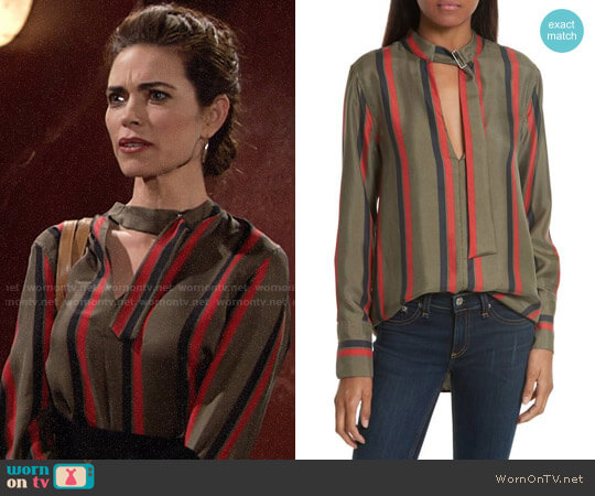 Equipment Janelle Blouse in Herbal Green worn by Victoria Newman (Amelia Heinle) on The Young & the Restless