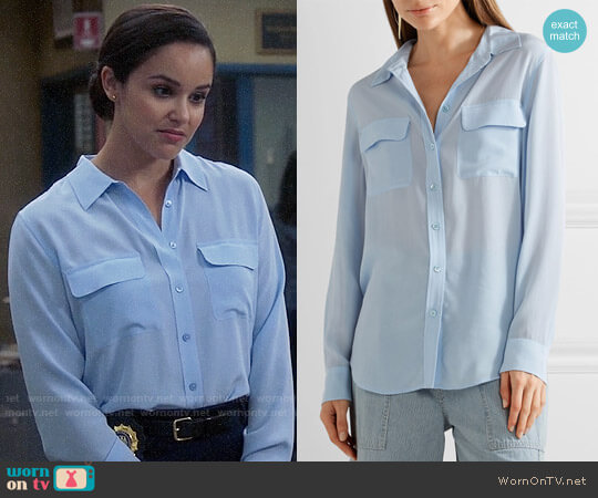 Equipment Slim Signature Silk Shirt worn by Melissa Fumero on Brooklyn Nine-Nine