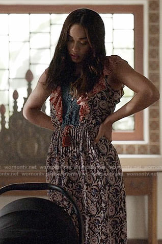 Erica's floral ruffled dress on Last Man on Earth