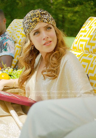 Fallon's metallic leopard turban on Dynasty