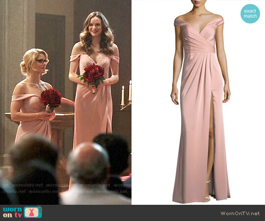 Faviana Off-the-Shoulder Column Faille Satin Evening Gown worn by Caitlin and Felicity on Supergirl