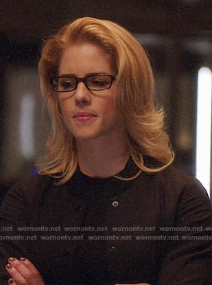 Felicity's black bomber jacket on Arrow