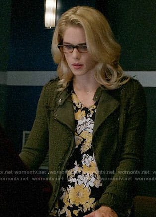 Felicity's floral top and green tweed jacket on Arrow