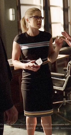 Felicity's black dress with multi-colored stripes on Arrow