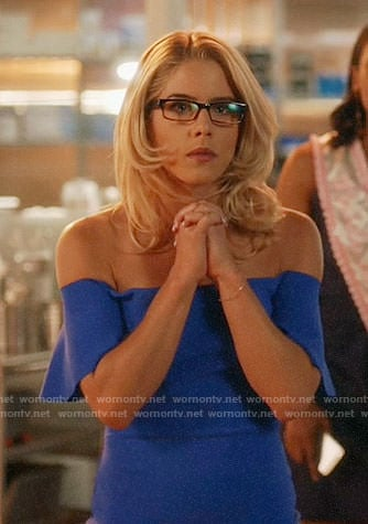 Felicity's blue off-shoulder dress on The Flash