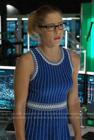 Felicity's blue textured stripe dress on Arrow
