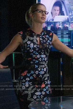 Felicity's floral and butterfly print dress on Arrow