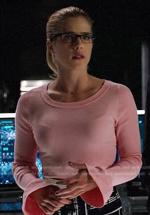 Felicity's pink bell cuff sweater on Arrow