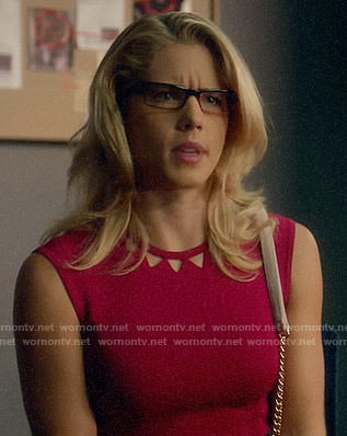 Felicity's pink dress with triangle cutouts on Arrow