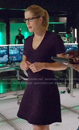 Felicity's purple v-neck dress on Arrow