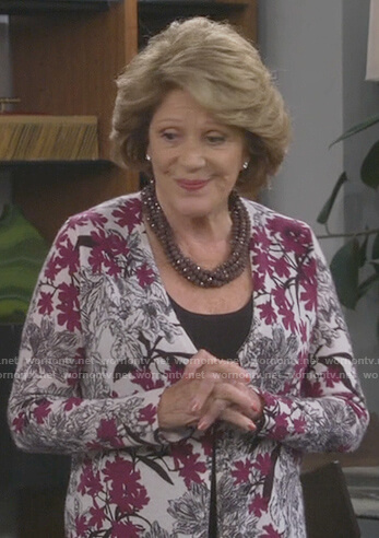 Judy's white floral print cardigan on 9JKL