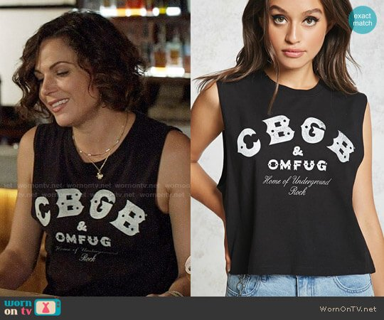 Forever 21 CBGB Graphic Muscle Tee worn by Regina Mills (Lana Parrilla) on OUAT