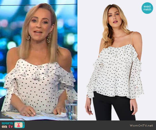 Bobby Spot Flounce Sleeve Cami by Forever New worn by Carrie Bickmore  on The Project