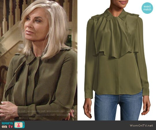 Frame Mixed Military Long Sleeve Silk Shirt worn by Eileen Davidson on The Young & the Restless