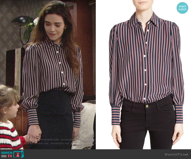 Frame Stripe Silk Blouse worn by Victoria Newman (Amelia Heinle) on The Young & the Restless