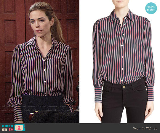 Frame Stripe Silk Blouse worn by Amelia Heinle on The Young & the Restless