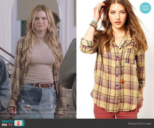 Free People Plaid Buttondown Shirt worn by Virginia Gardner on Marvels Runaways