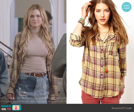 Free People Plaid Buttondown Shirt worn by Karolina Dean (Virginia Gardner) on Marvels Runaways