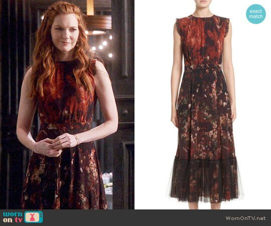 Fuzzi Print Tulle Plissé Hem Midi Dress worn by Darby Stanchfield on Scandal