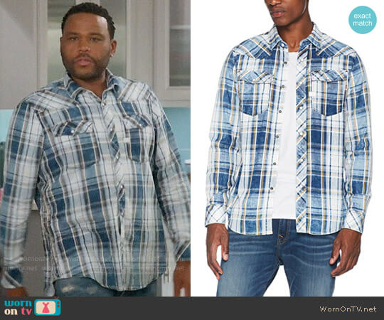 G Star Raw 3301 Shirt in Milk Dark Vulcan Check worn by Andre Johnson (Anthony Anderson) on Blackish