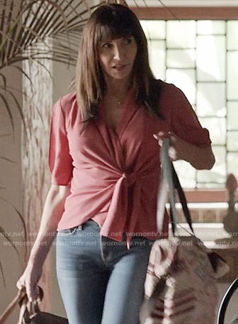 Gail's pink wrap top on Last Man on Earth