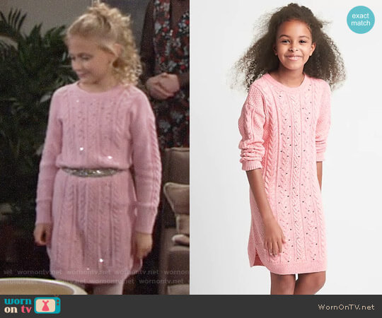 GAP Girls' Sequin cable knit sweater dress worn by Faith Newman (Alyvia Alyn Lind) on The Young & the Restless