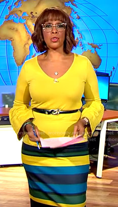 Gayle's yellow bell sleeve top and striped pencil skirt on CBS This Morning