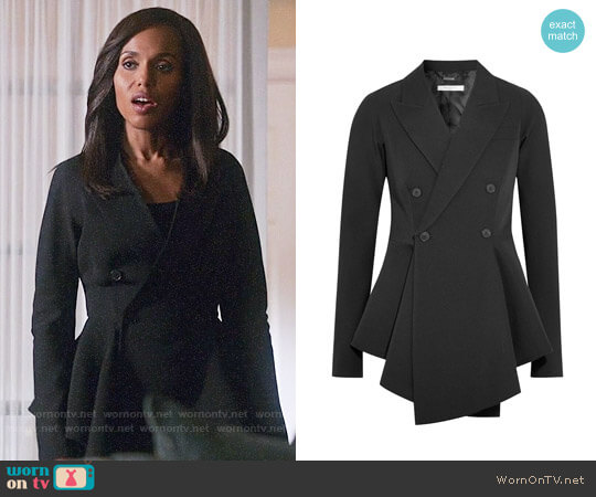 Givenchy Double-breasted grain de poudre wool peplum blazer worn by Kerry Washington on Scandal