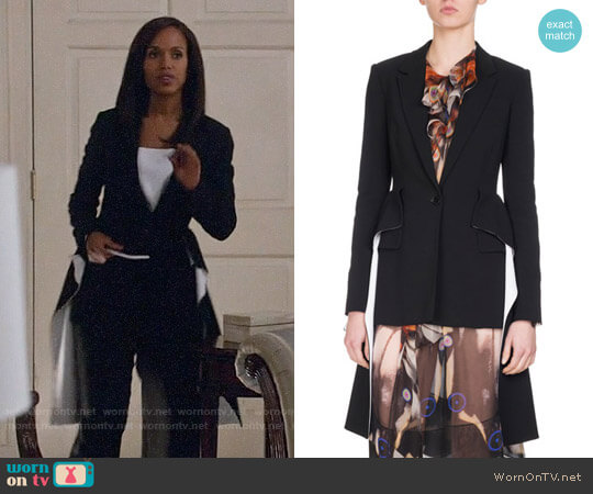 Givenchy Wool Blazer with Cascading Peplum worn by Kerry Washington on Scandal
