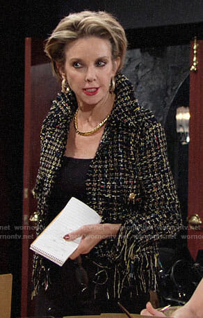 Gloria's fringed trim tweed jacket on The Young and the Restless