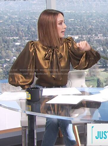Catt's gold metallic bow neck top on E! News Daily Pop