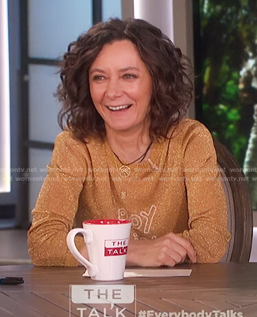 Sara's gold glitter boy girl sweater on The Talk