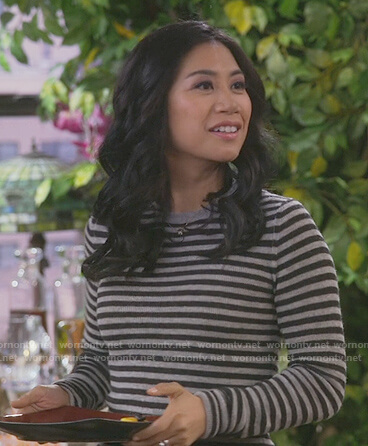 Eve's stiped long sleeve sweater on 9JKL