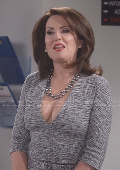 Karen's gray v-neck belted sheath dress on Will and Grace