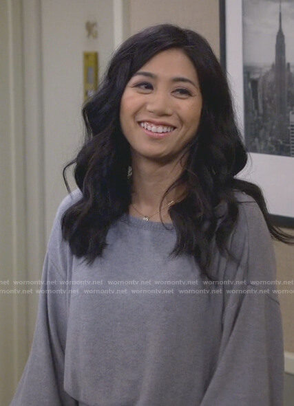Eve's gray boat neck ribbed hem sweater on 9JKL