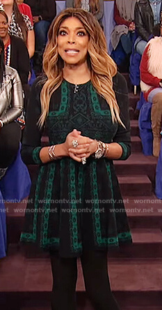 Wendy's green knit pattern flare dress on The Wendy Williams Show
