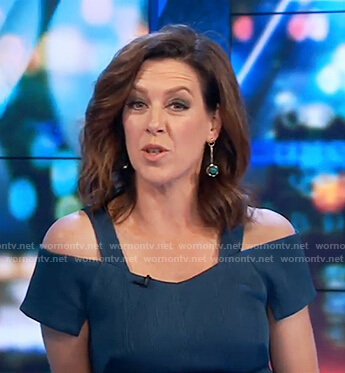 Gorgi's teal cold shoulder dress on The Project