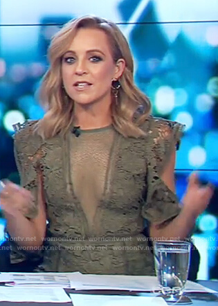 Carrie's green floral lace dress on The Project