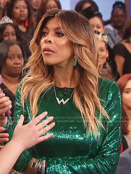 Wendy's green sequin mini dress on The Wendy Williams Show