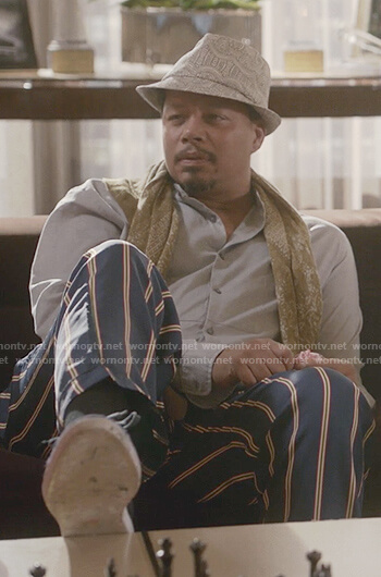 Lucious's green striped silk pants on Empire