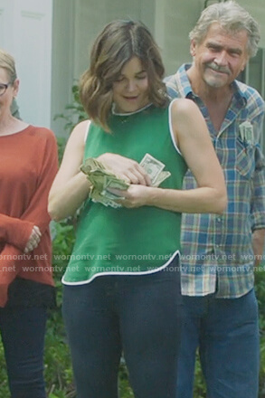 Heather's green sleeveless top on Life in Pieces
